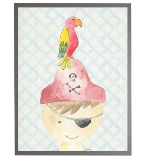 Watercolor pirate with geometric background C