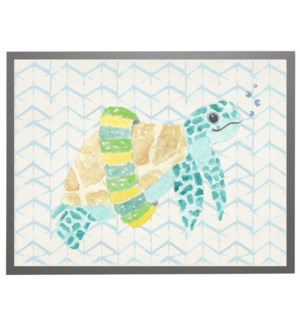 Watercolor turtle with geometric background A