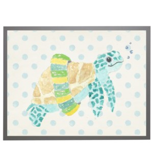 Watercolor turtle with geometric background B
