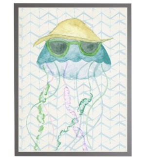 Watercolor jellyfish with geometric background A