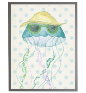 Watercolor jellyfish with geometric background B