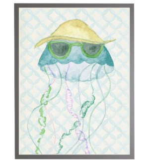 Watercolor jellyfish with geometric background C