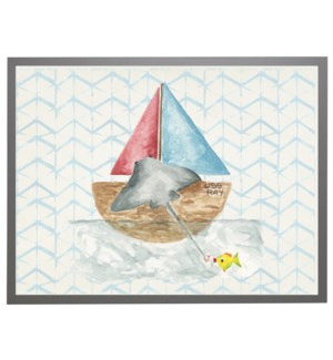 Watercolor fishing sting ray with geometric background B