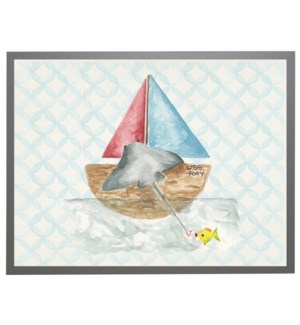 Watercolor fishing sting ray with geometric background C