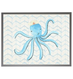 Watercolor octopus with sailor hat with geometric background C