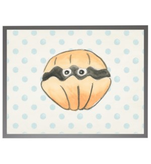 Watercolor clam with geometric background C