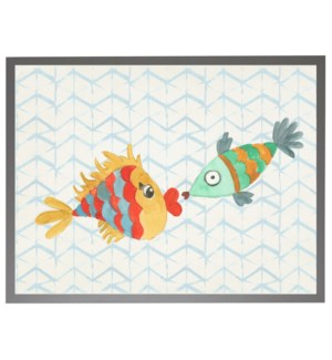 Watercolor kissing fish with geometric background C