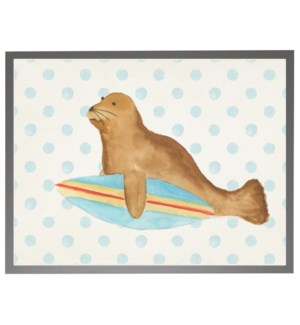 Watercolor seal with surfboard with geometric background C
