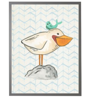 Watercolor seabird with fish with geometric background C