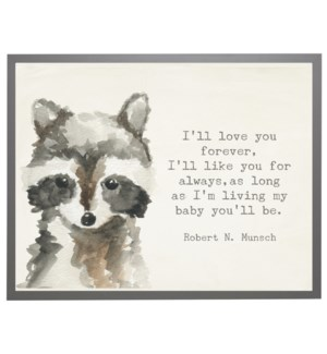 Watercolor Racoon with love you forever quote