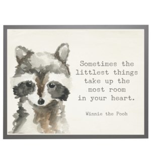 Watercolor Racoon with Winnie the Pooh quote