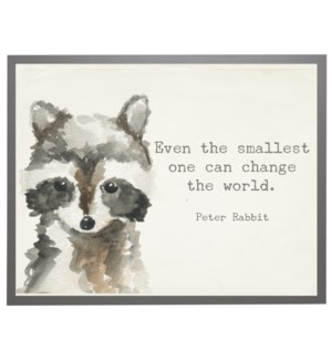 Watercolor Racoon with Peter Rabbit quote
