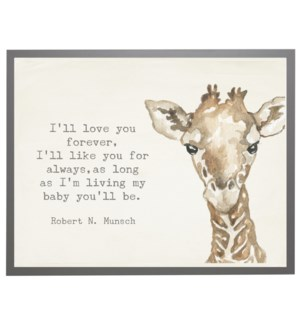 Watercolor Giraffe with love you forever quote