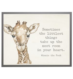 Watercolor Giraffe with Winnie the Pooh quote