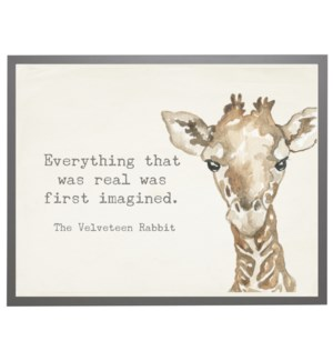 Watercolor Giraffe with Velveteen Rabbit quote