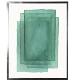 Green abstract watercolor stacked rectangle w/ silver shadowbox