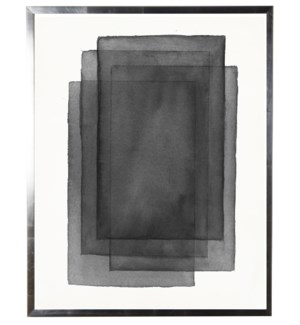 Black/White abstract watercolor stacked rectangle w/ silver shadowbox