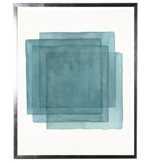 Blue abstract watercolor stacked square w/ silver shadowbox