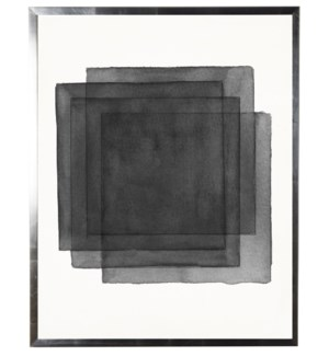 Black/white abstract watercolor stacked square w/ silver shadowbox