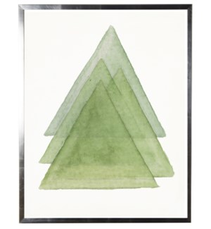 Green abstract watercolor stacked triangle w/ silver shadowbox