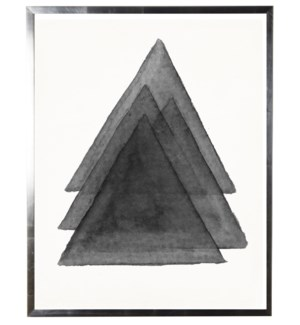Black/white abstract watercolor stacked triangle w/ silver shadowbox