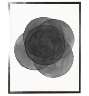 Black/white abstract watercolor circle w/ silver shadowbox