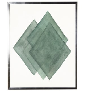 Teal abstract watercolor diamond w/ silver shadowbox