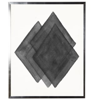 Black/white abstract watercolor diamond w/ silver shadowbox
