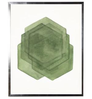 Green abstract watercolor hexagon w/ silver shadowbox