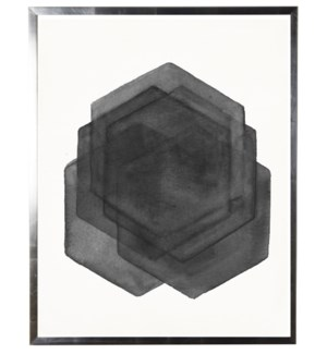 Black/white abstract watercolor hexagon w/ silver shadowbox