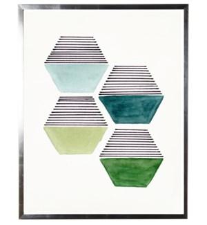 Green four hexagon abstract