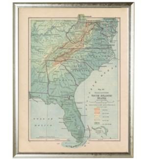 North American South East Atlantic & Gulf Coast map pewter shadow box