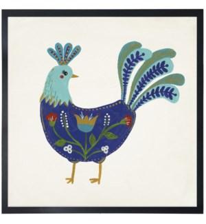 Blue folk art rooster