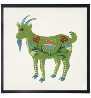Green folk art goat
