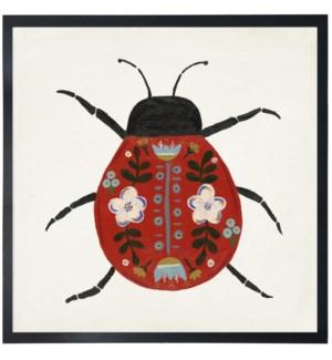 Red folk art beetle