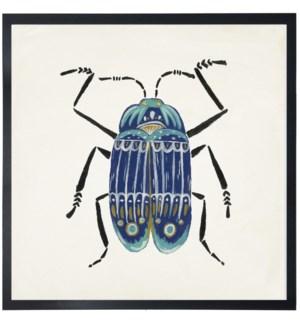 Blue folk art beetle