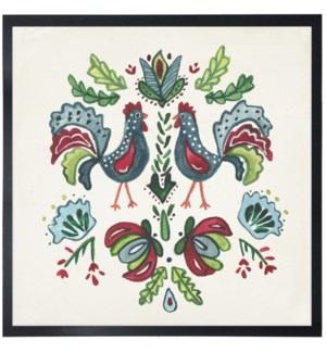 Floral folk art with multi color rooster