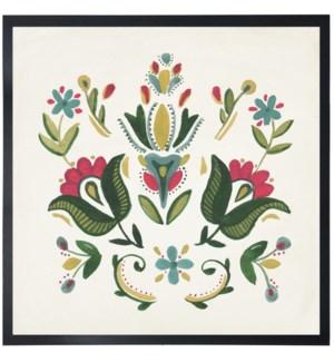 Green/pink folk art tulips