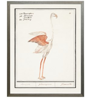 Vertical white/peach flamingo waterbird