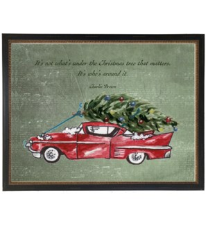 Christmas car with Charlie Brown quote