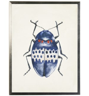 Watercolor blue and red bug