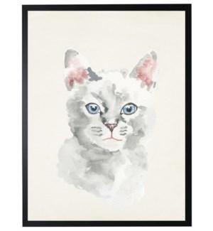 Watercolor white cat