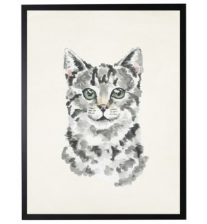 Watercolor Black and white cat