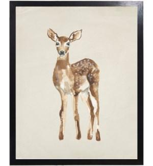 Watercolor woodland baby deer