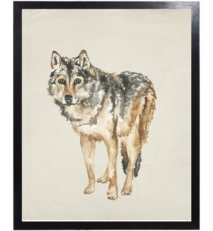 Watercolor woodland brown wolf