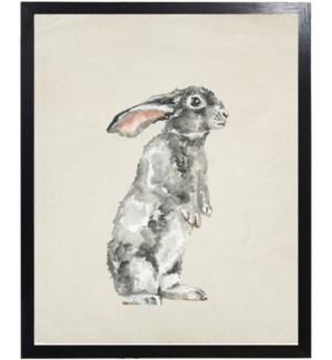 Watercolor woodland standing grey bunny
