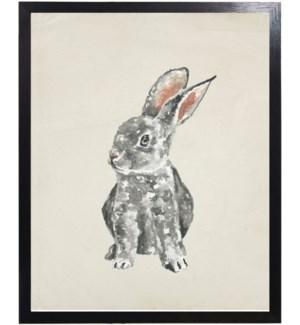 Watercolor woodland grey baby bunny