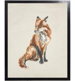 Watercolor woodland fox
