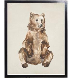 Watercolor woodland sitting bear