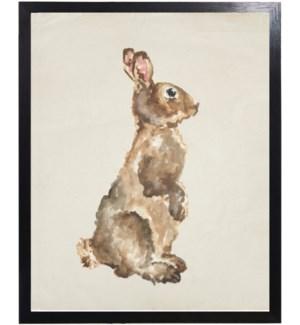 Watercolor woodland bunny side profile